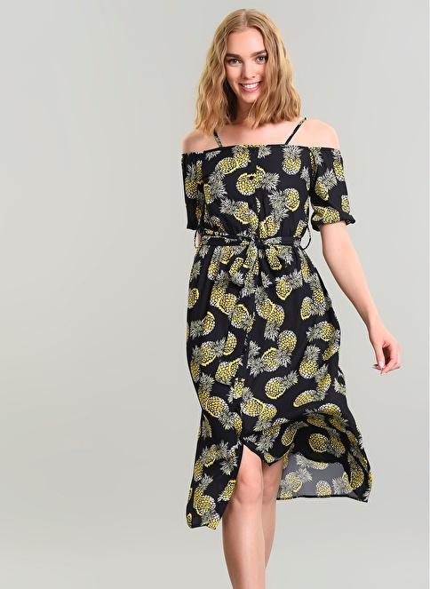 Agenda Ananas Desenli Elbise Siyah